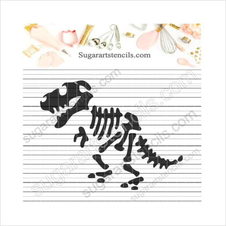 1159 dinosaur skeleton cookie stencil ny078ml