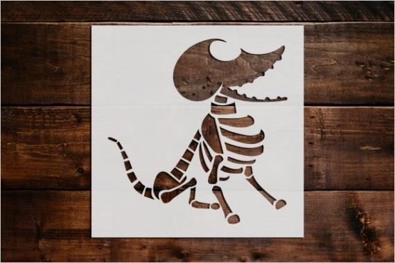 dog skeleton stencil art and wall stencil