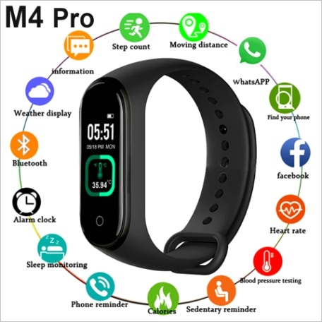 m4 pro smart band thermometer new m4 band fitness tracker heart rate blood pressure fitness bracelet smart watch for android ios