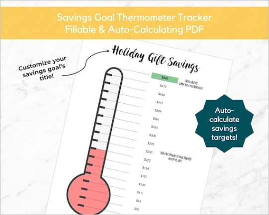 savings goal thermometer fillable auto