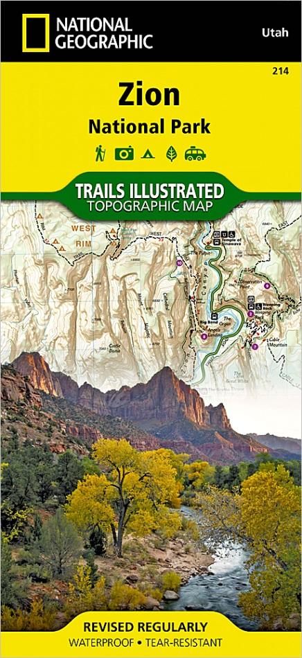 zion national park ut trails illustrated folding map