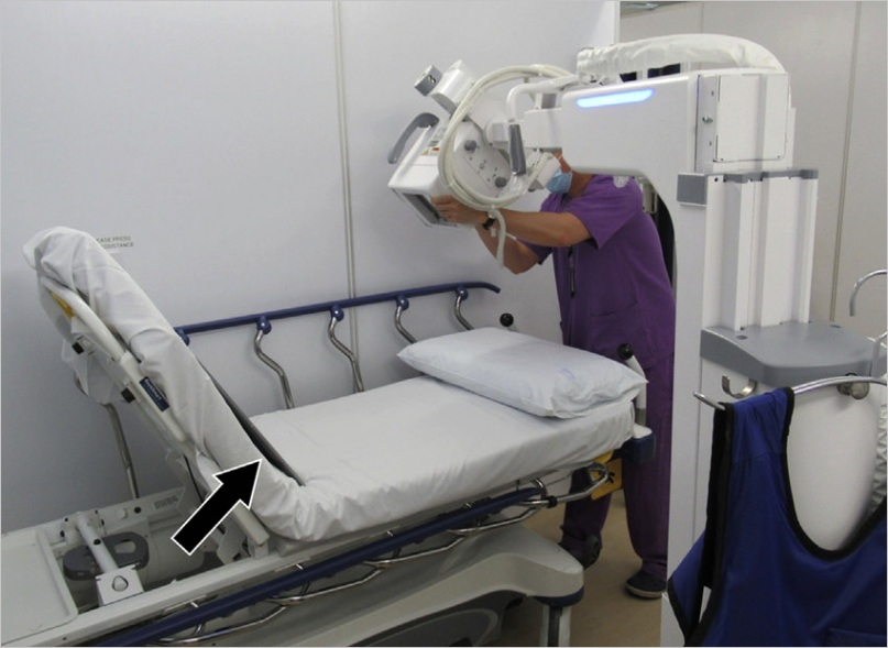 Simulated set up showing positioning of the portable X ray unit for chest radiography in fig3