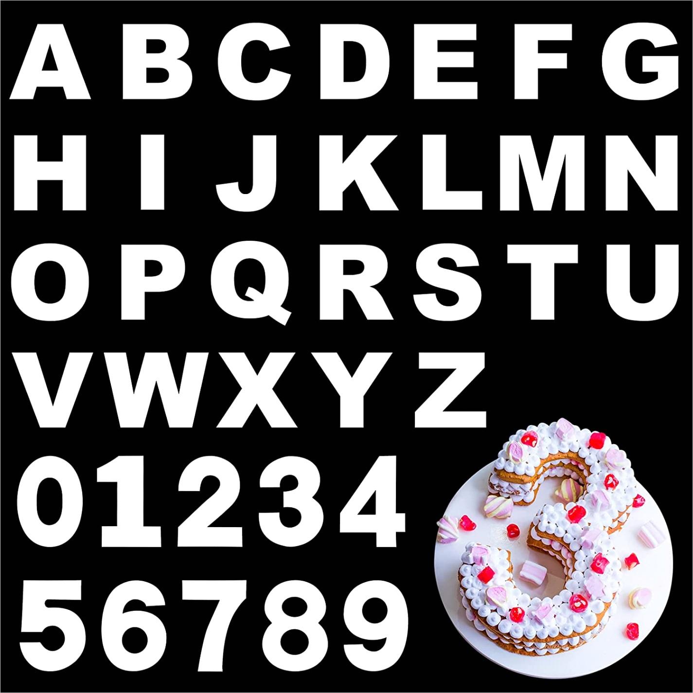 ZOILRI48 durony 8 inch cake alphabet decoration stencil a z 26 alphabet cake stencils 0 9 number cake templat