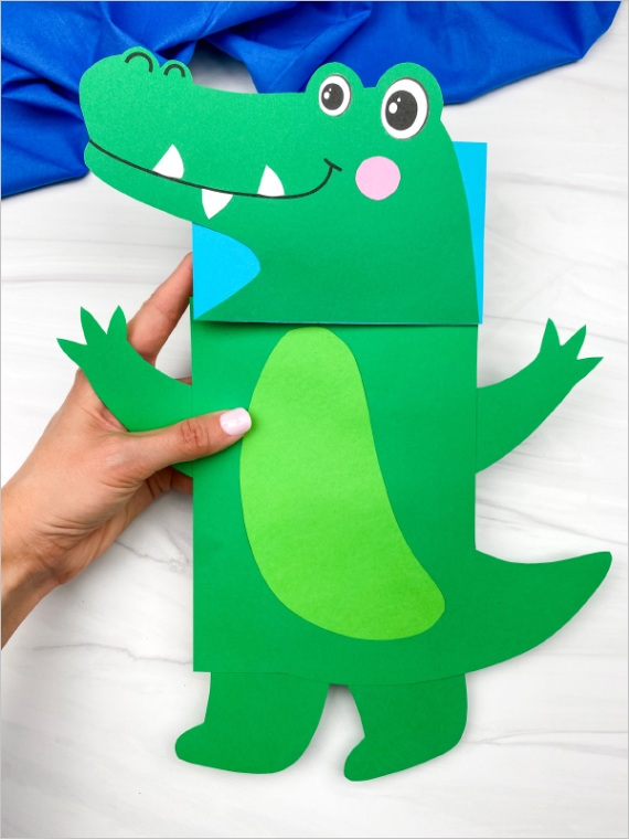 alligator paper bag puppet