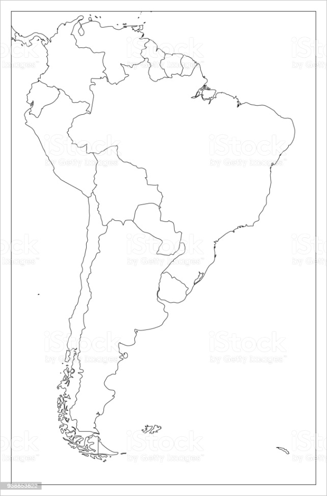 blank political map of south america simple flat vector outline map gm