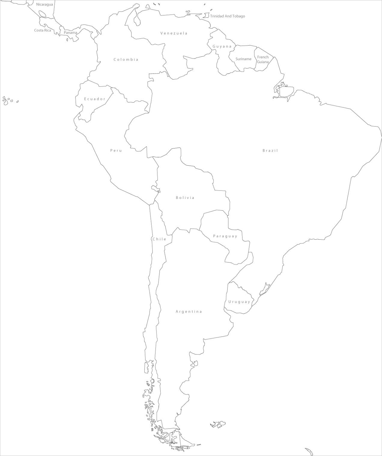 south america blank political map