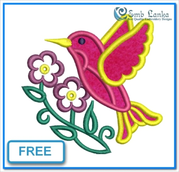 free bird and flowers applique embroidery design