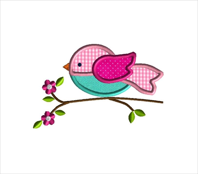 bird on a branch applique embroidery design