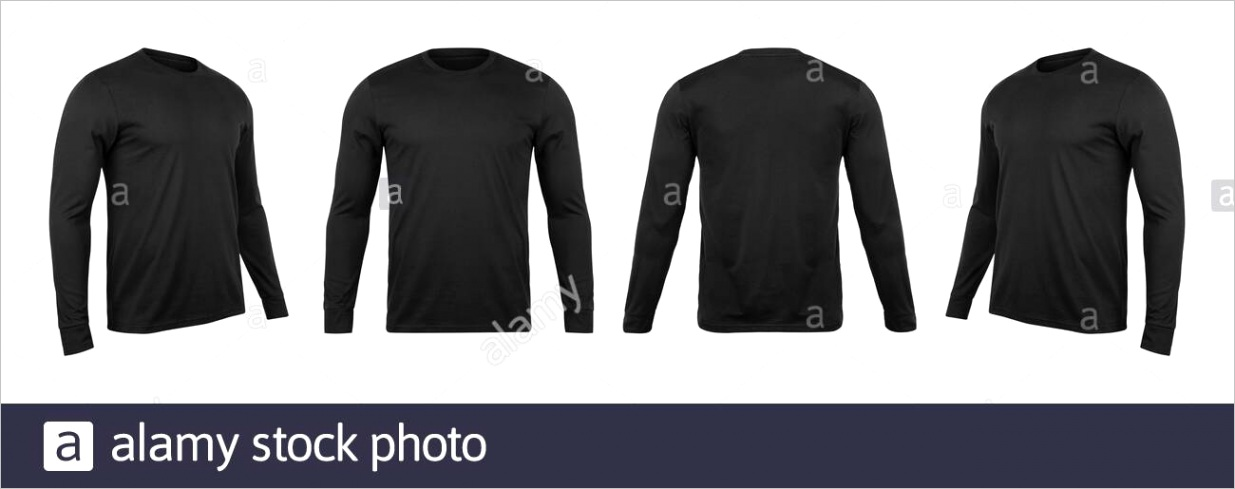 blank black long sleve t shirt mock up template front and back and side view isolated on white background with clipping path image ml