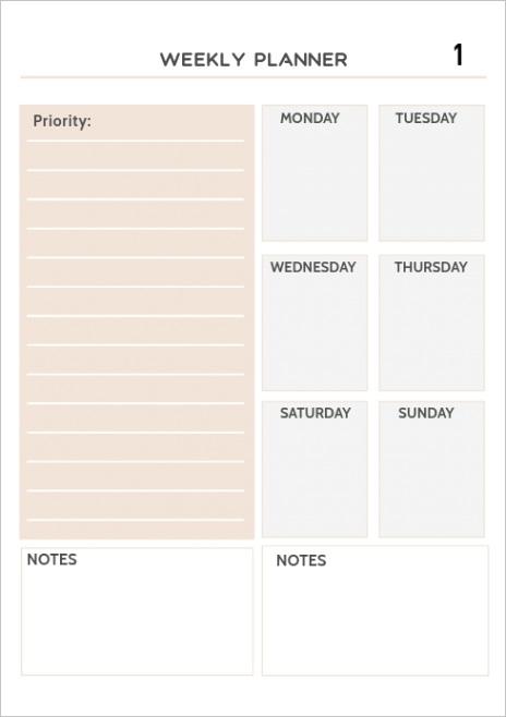 blank weekly planner template design
