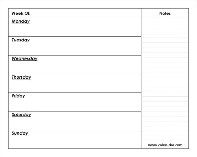 blank weekly calendar printableml