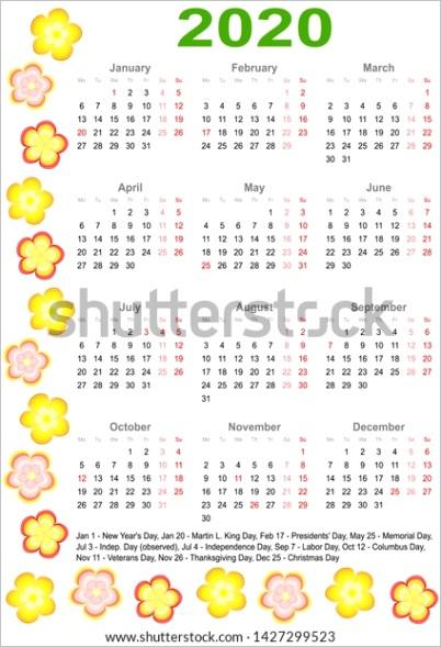 calendar 2020 markings list public holidays
