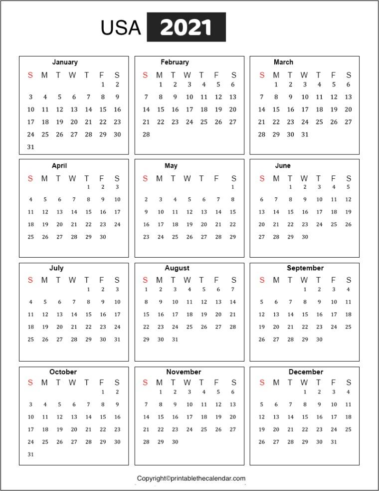 usa calendar 2021