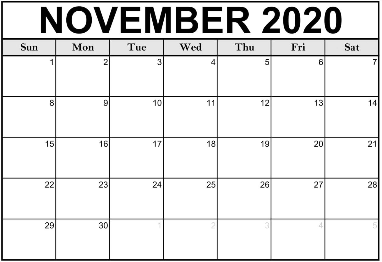 november 2020 calendar usa