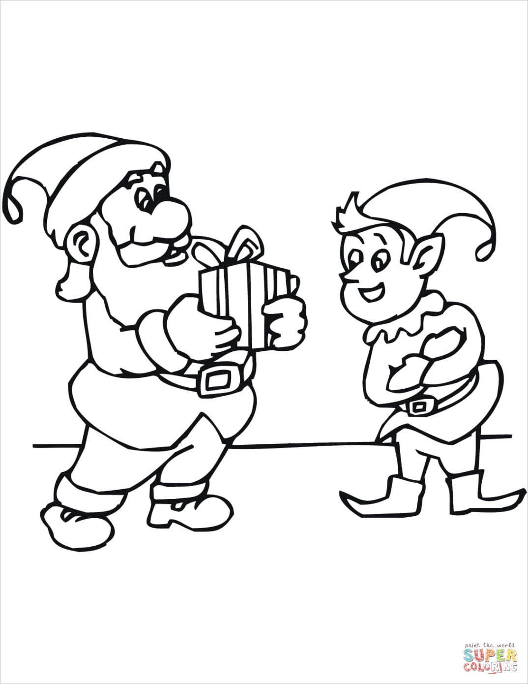 christmas elf with santa