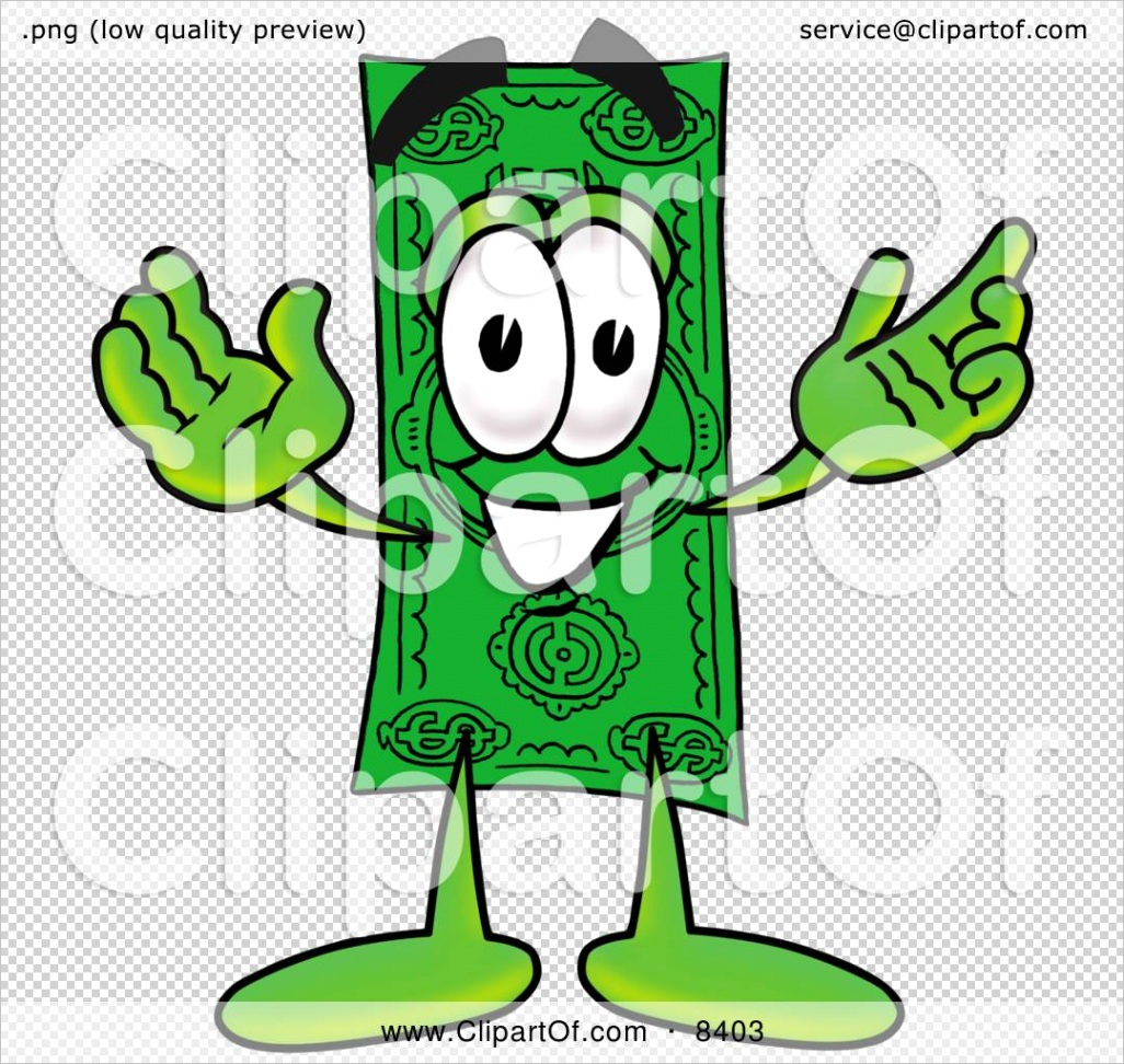 dollar bill mascot cartoon character with wel ing open arms 8403ml