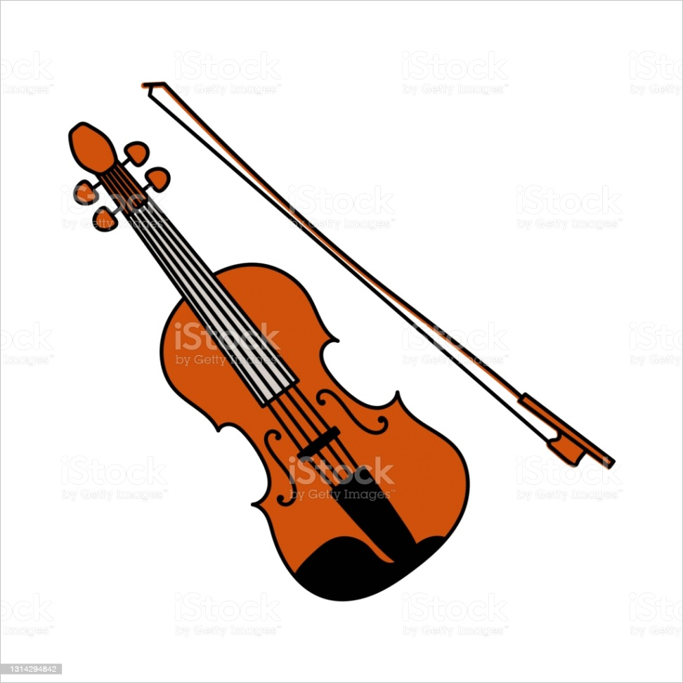 musical instrument sketch violin or viola with bow cartoon color vector gm