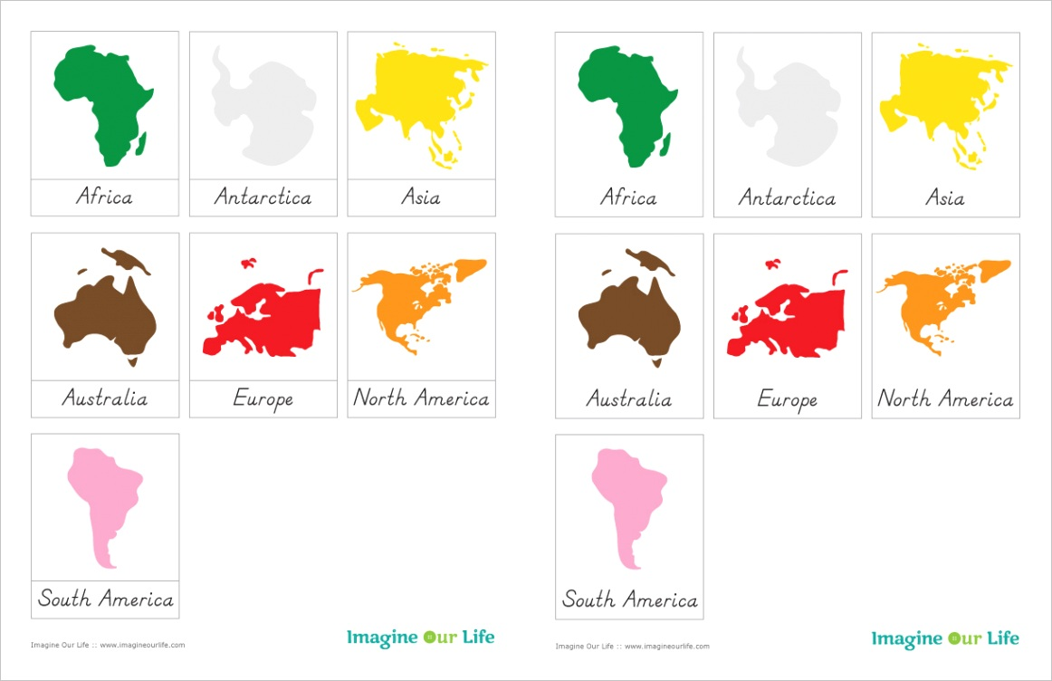 montessori continents map quietbook with 3 part cards