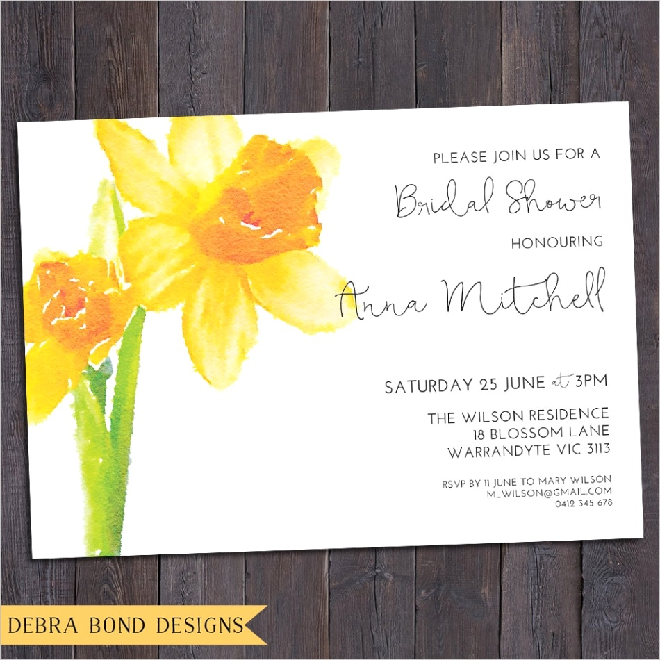 daffodil invitation customised for any