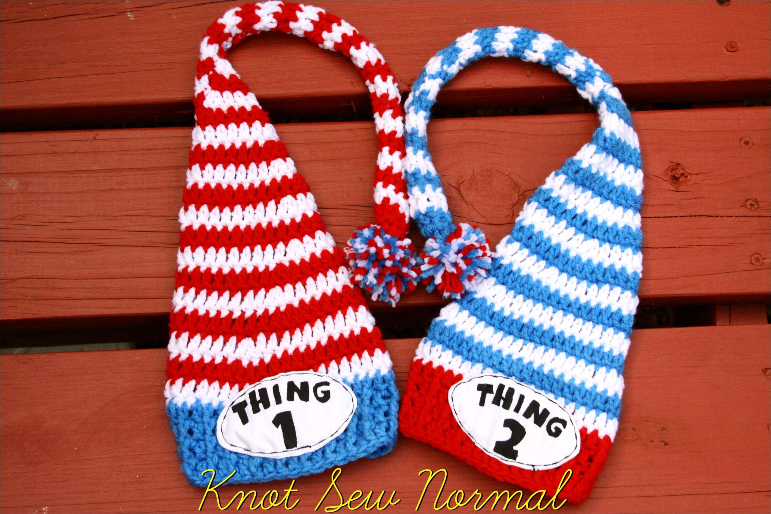out of the box came thing 2 and thing 1 crochet hat set