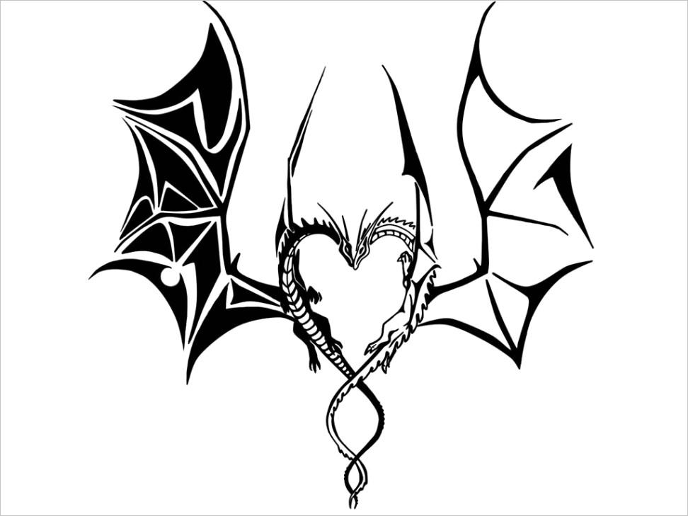 dragon wings tribal tattoo design