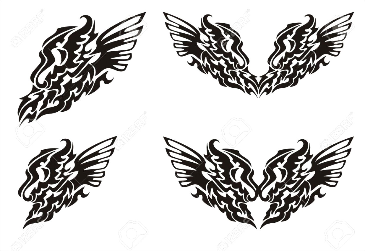 photo tribal dragon wing and dragon heart with wings