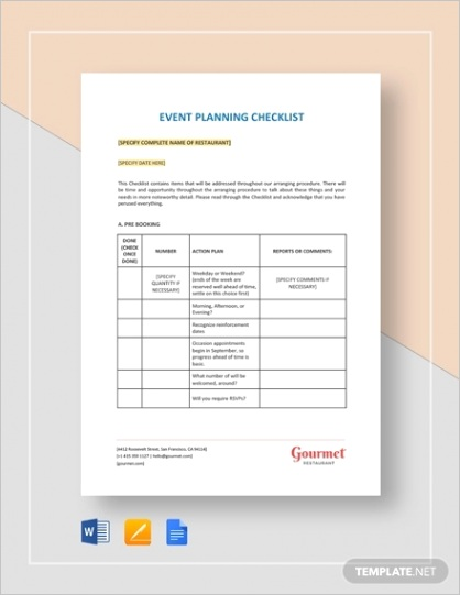 event planning checklistml