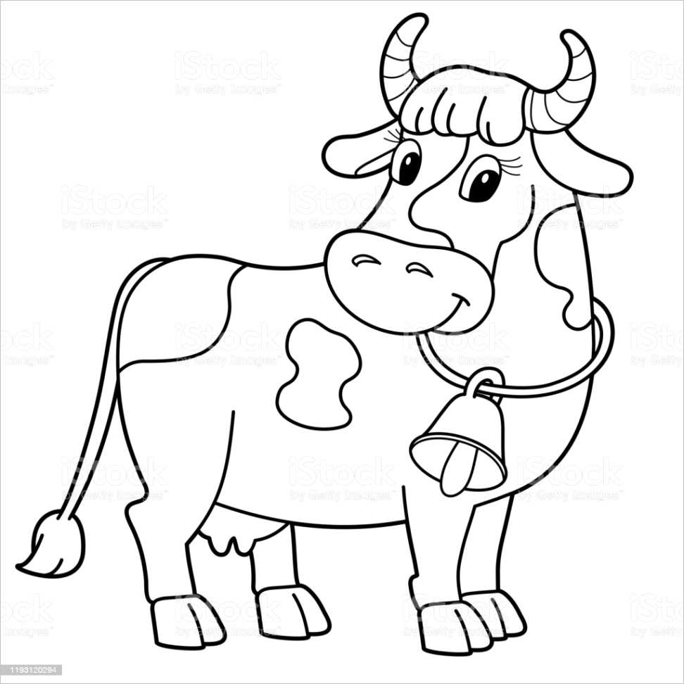 coloring page outline of cartoon cow with bell farm animals coloring book for kids gm