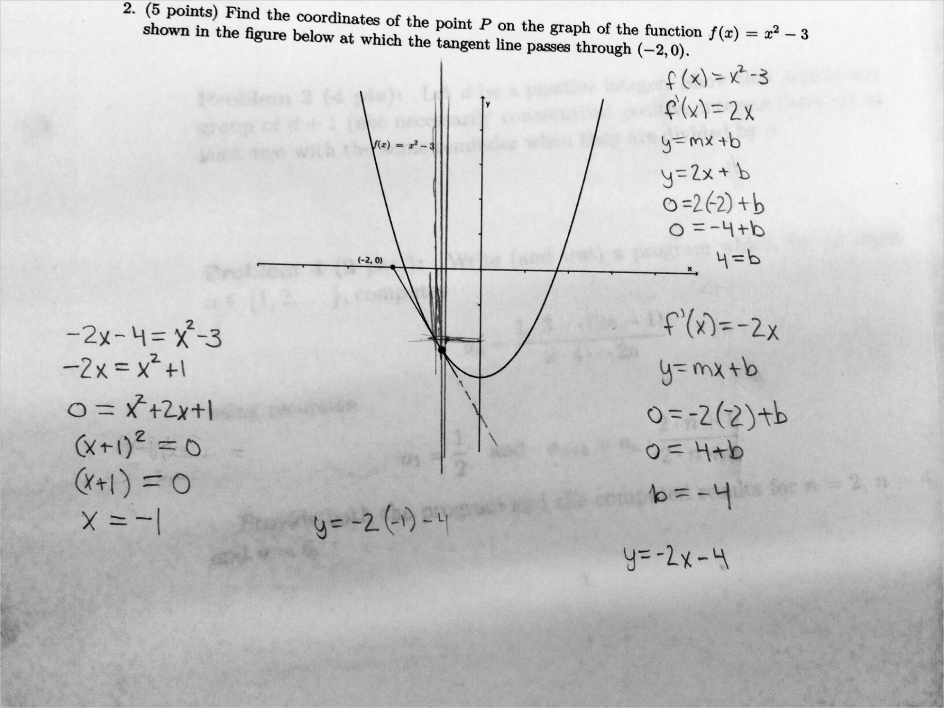 how can i find the coordinates of a point given a function graph and tangent l
