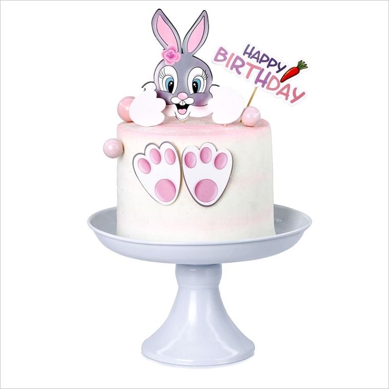 cake topper rabbit bunny footprint carrot kids happy birthday wedding decoration cupcake decor party baking supplies diy easter