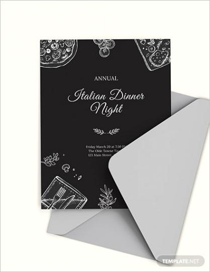 dinner invitation psd