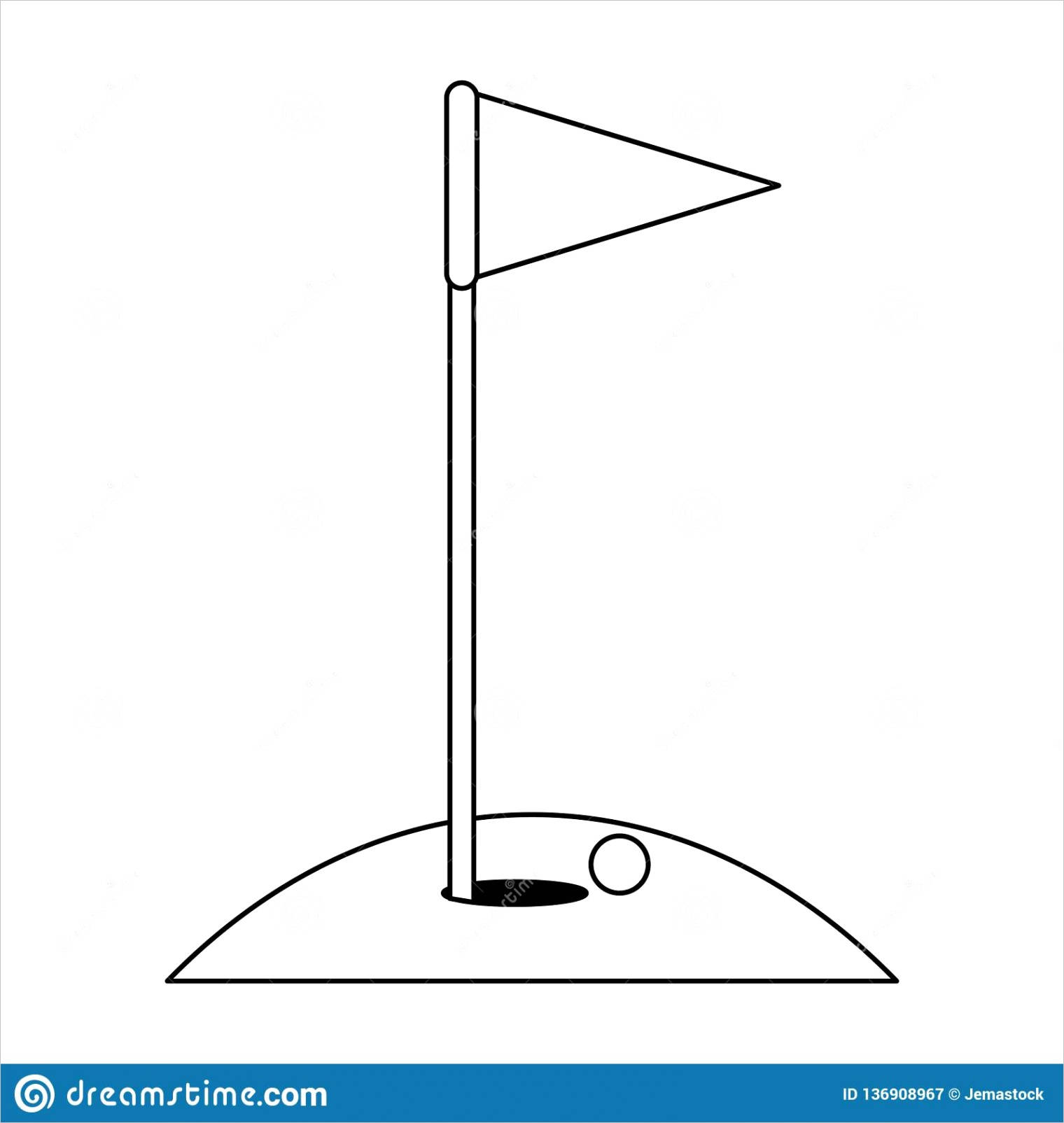 golf flag ball hole black white vector illustration graphic design image