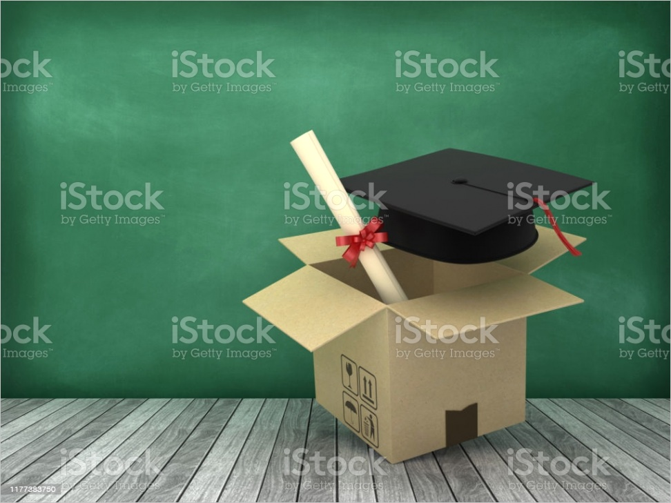 cardboard box with graduation cap on wood floor chalkboard background 3d rendering gm