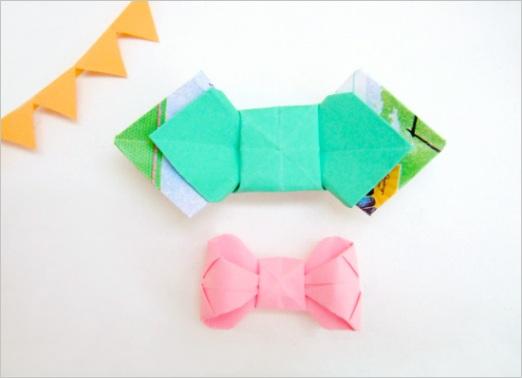 diy tutorial paper folding origami bow ties packaging