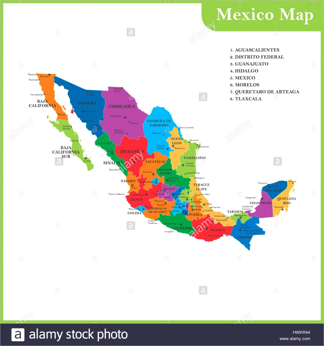 stock photo the detailed map of the mexico with regions or states and cities capitals ml