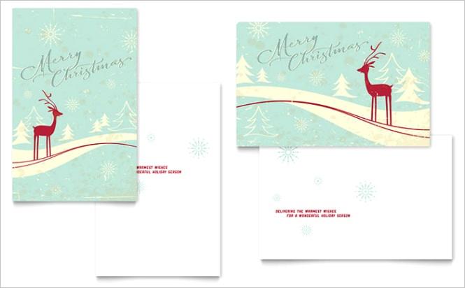 Antique Deer Greeting Card Templates XX Dx