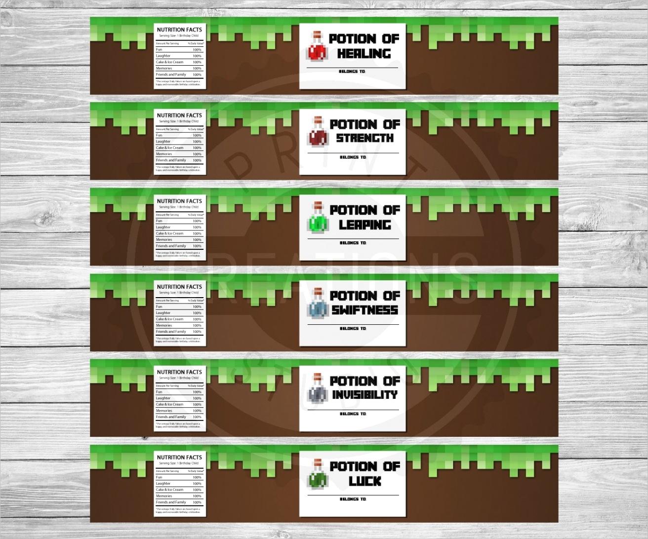 minecraft bottle labels printable