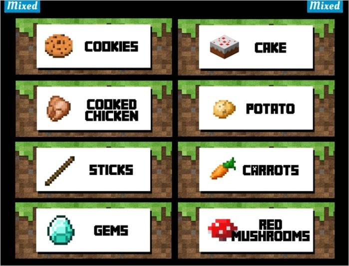 minecraft food label templateml