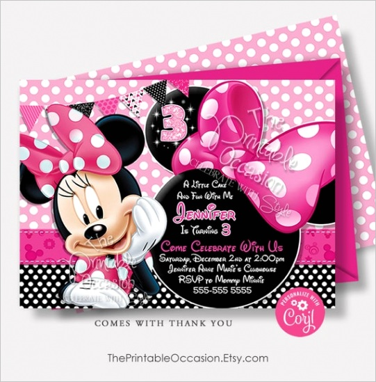 editable pink minnie mouse birthday