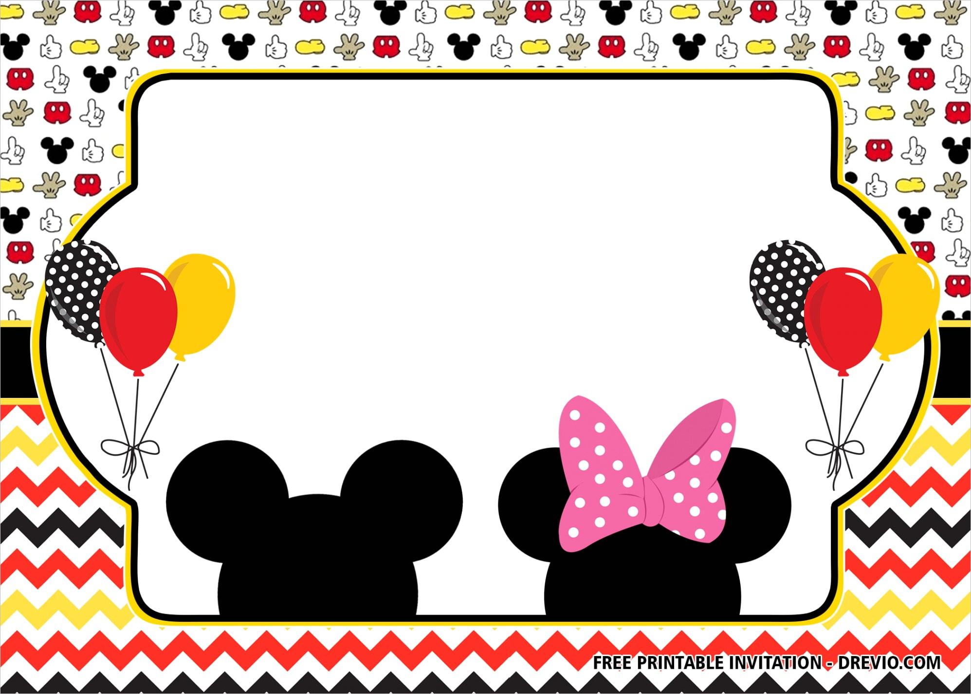 free mickey and minnie mouse bined birthday invitation templatesml