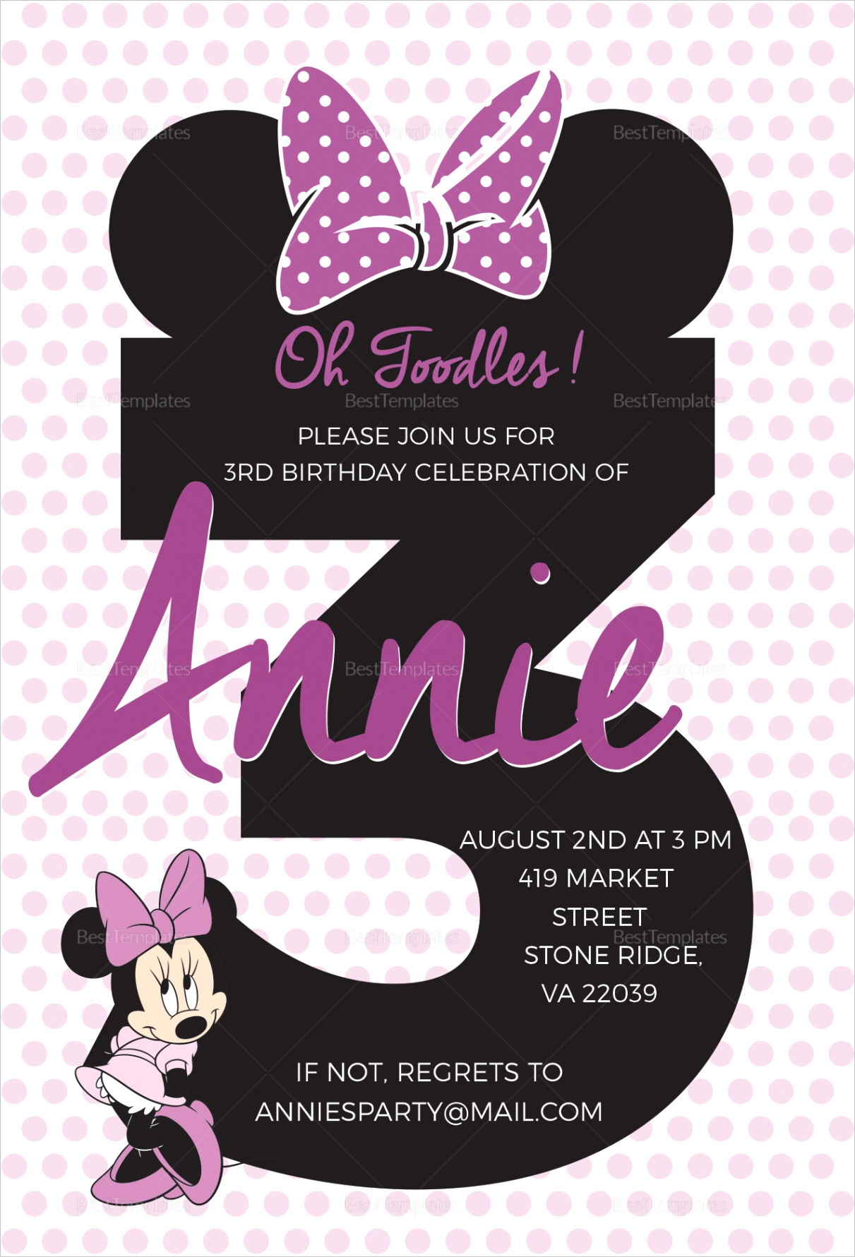 joyous minnie mouse invitation