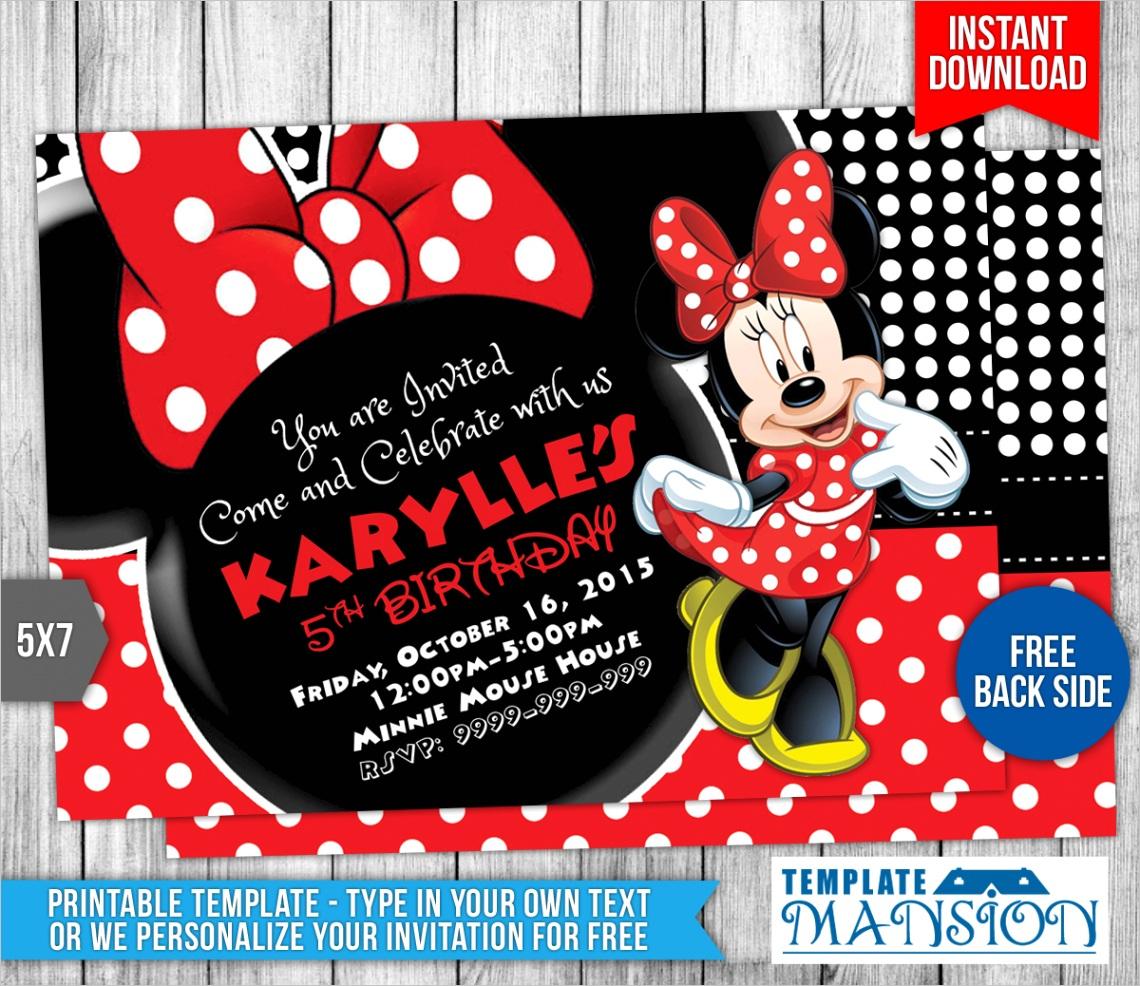 Minnie Mouse Birthday Invitation Template 5