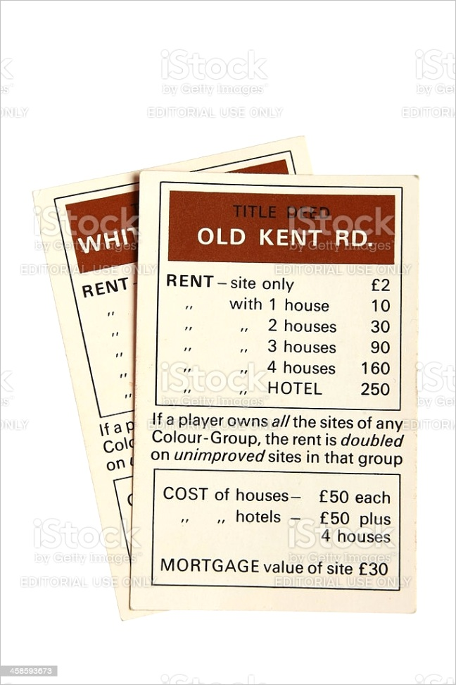 monopoly property cards old kent road gm