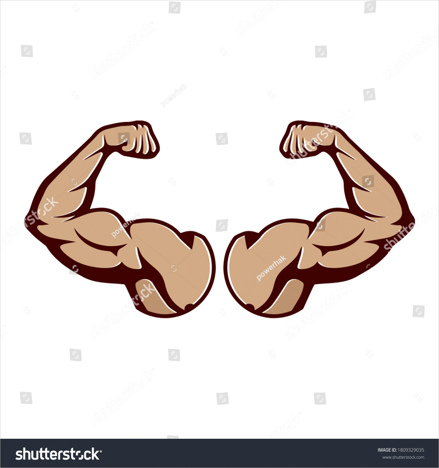 cartoon hard muscle strong arm boxer