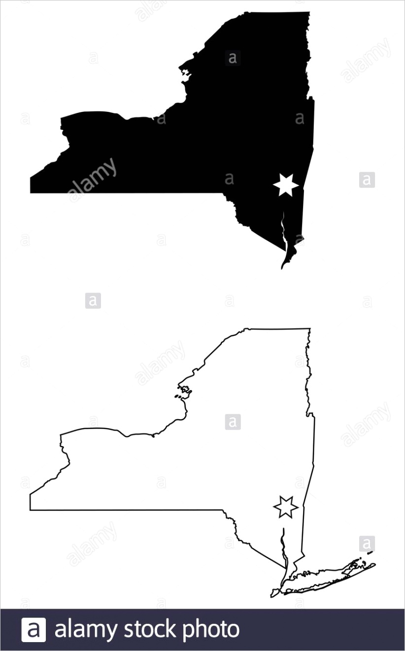new york ny state map usa with capital city star at albany black silhouette and outline isolated on a white background eps vector image ml