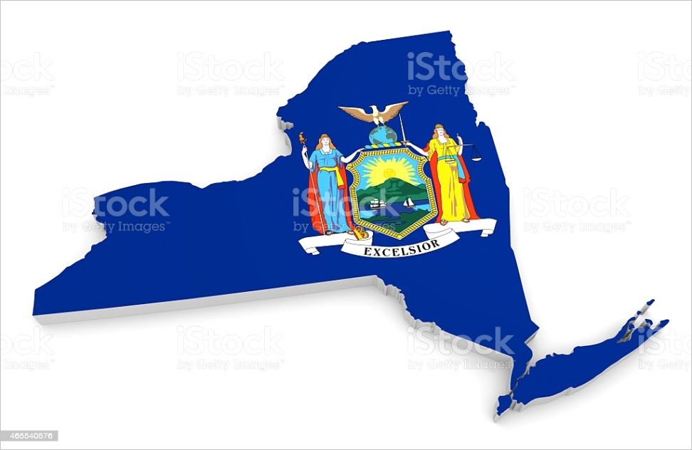 geographic outline map of new york with the state flag gm