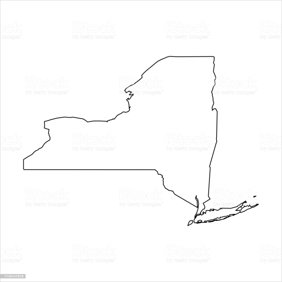 new york state of usa solid black outline map of country area simple flat vector gm