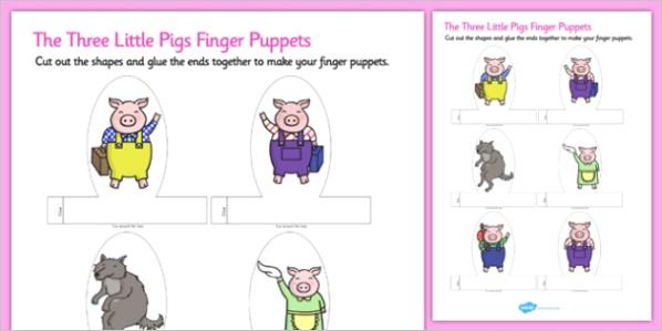 t t the 3 little pigs finger puppets