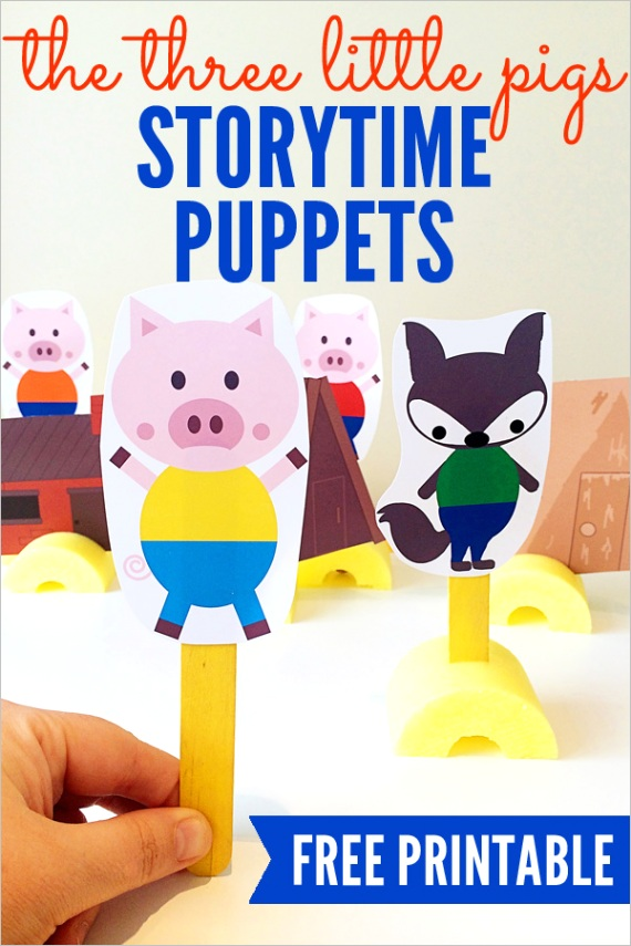 the three little pigs printable story retell puppets
