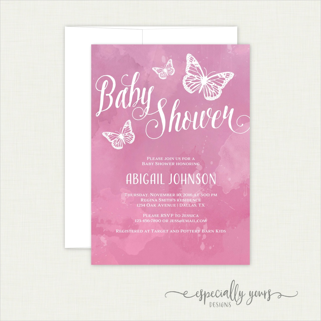 purple pink watercolor butterfly baby shower invitation